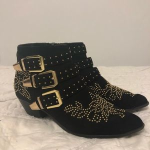 Black Gold-Studded Ankle Boots